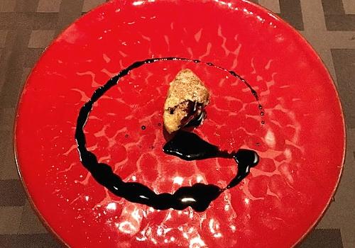 フォアグラとさつま芋金時 特製バルサミコのソース
