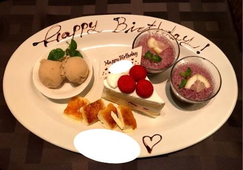 記念日プレート(ぶどうゼリー・ショートケーキ・クレマカタラーナ・マロンアイスクリーム)