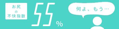 お尻の不快指数「55%」