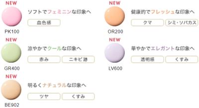 モデリングカラーアップベースのカラー表