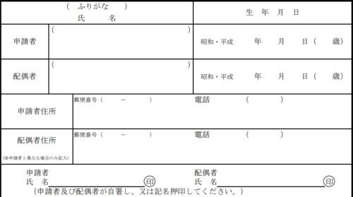 申請者・配偶者の氏名、生年月日、住所