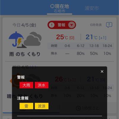 石垣島の大雨・洪水警報