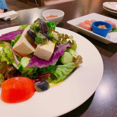 島豆腐のサラダ・ソーセージの盛合せ