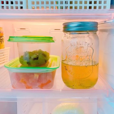 お酢とフルーツを冷蔵保存する