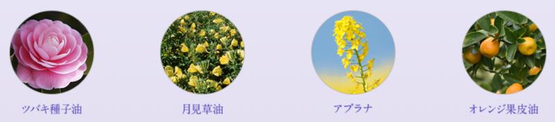 ツバキ種子油・月見草油・アブラナ・オレンジ果皮油