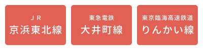 「JR京浜東北線」「東急大井町線」「りんかい線」